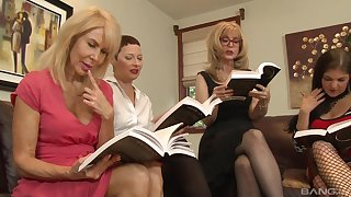 Lesbian orgy round a hotel room with Nina Hartley and say no to mature friends