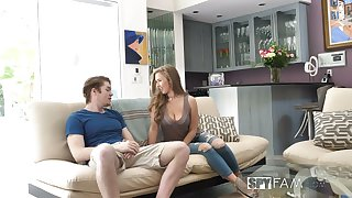 Shameless chick with sexy rounded ass Lena Paul jumps superior to before dick superior to before sofa