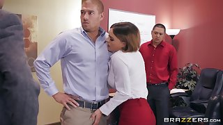 Horny office slut Krissy Lynn caught swallowing cum by her queen
