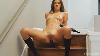 Dildo in Taylor's asshole and vibrator on the brush pussy make the brush shin up