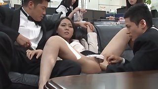 Pretty Asian meeting chicks get in some public sex at work