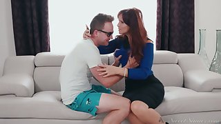 Mature stepmom Syren De Mer fucks their way nerdy stepson for the tricky time
