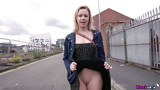 Shameless bitch Lucy Lauren flashes will not hear of pussy and tits exceeding first date