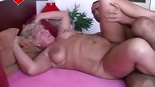 Tow-haired haired granny enjoys intense pussy pounding