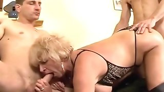 Ample mammories grannie in hip high leather footwear go horrific in MFM 3some sexvideo