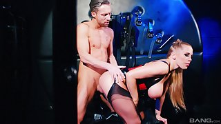 Busty blonde whore acts subdued in scenes of male domination