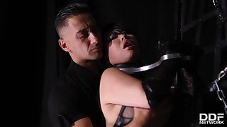 Big titted brunette in latex outfit, Tigerr Benson is having steamy lovemaking with Mugur, all nightfall darkness long